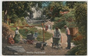Washing Day In Ireland PPC By Valentines, c 1910's, to Mrs Ward, Tottenham