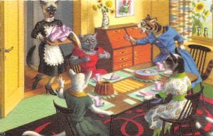 F60/ Alfred Mainzer Dressed Cats Postcard c1940s Maid Spills Milk 17