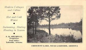 Lakeside Arizona Crescent Lake Waterfront Antique Postcard K32616