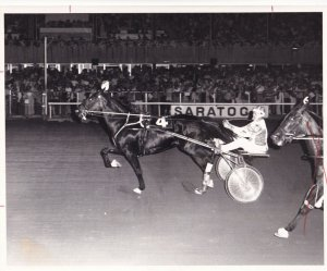 RP; SARATOGA SPRINGS, New York, 1977, Lucky Lady Kash Wins Harness Horse Race