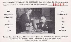 The Restaurant ANTOINE, City of New Orleans, Order number, Receipt, 00-10s