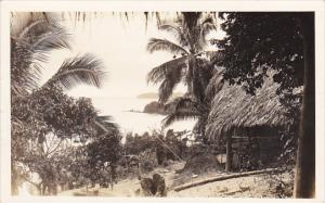 Panama Village Scene Native Huts Canal Zone Real Photo