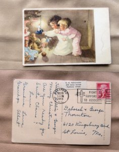 Children In Candlelight Under Christmas Tree Postcard Postmarked Vtg Holiday