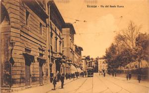 Italy Old Vintage Antique Post Card Firenze Via del Ponte Rosso Unused