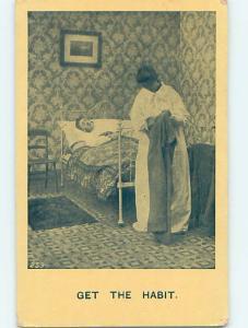 Pre-Linen comic WOMAN CHECKS HUSBAND'S PANTS WHILE HE SLEEPS HL2737