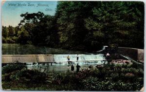 Alliance, Ohio Postcard Boys playing on Water Works Dam w/ 1913 Cancel