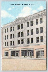 Florence South Carolina~Hotel Florence~Civic Center~1940s Postcard