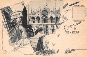 Venezia Venice Italy Multiview Woman with Pigeons Antique Postcard J76352