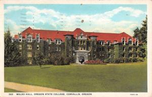 Corvallis Oregon State College Waldo Hall Antique Postcard K26842