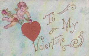 Valentine's Day Cupid With Embroidered Heart