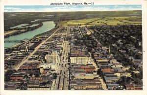 Augusta Georgia Aerail View~Street-Buildings-Church-River Bridge-Farmland~1920s