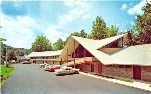 Little Pigeon River TN Twin Island Motel Great Smoky Mountains Old Cars Postcard