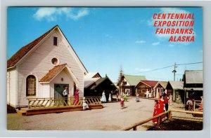 Fairbanks AK-Alaska, Centennial Exposition Main Street Gold Rush Chrome Postcard