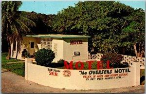 Marathon, FL Postcard OVERSEAS MOTEL Florida Keys Roadside c1960s Chrome Unused