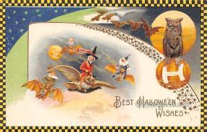 Halloween Post Card Old Vintage Antique Artist Samuel Schmucker Unused