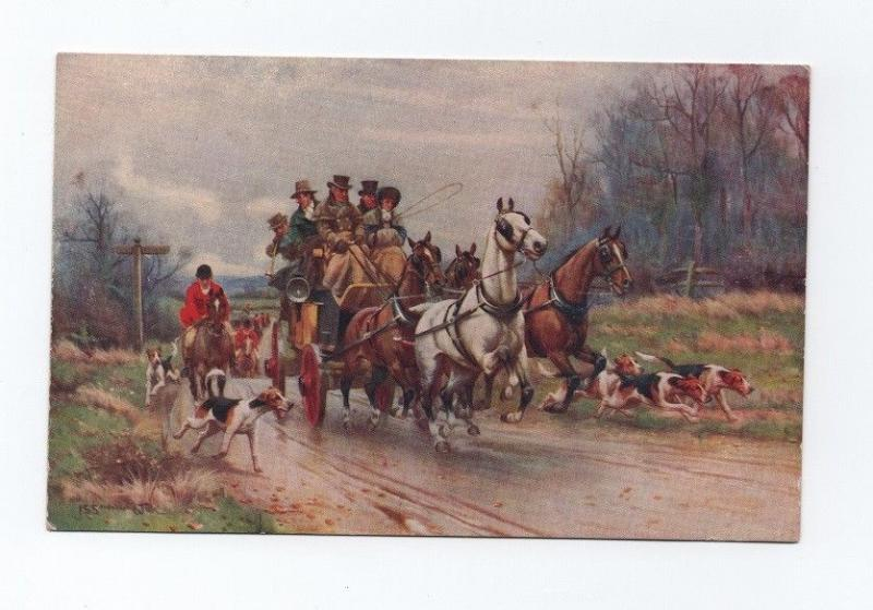 1910ys ART POSTCARD sg HORSE CART HORSES DOGS FOX HUNTERS DOG HUNTER