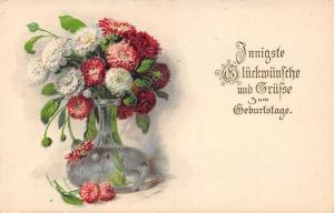 Innigste Glueckwuensche und Gruesse zum Geburtstag! Happy Birthday! Flowers Vase