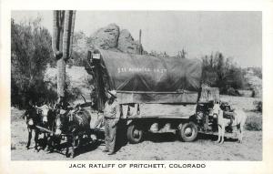 Pritchett Colorado~Jack Ratliff~See America First Covered Wagon~1940s B&W