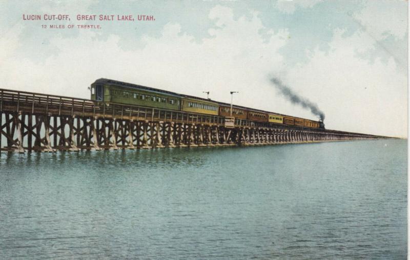 GREAT SALT LAKE, Utah, 00-10s; Lucin Cut-Off, Railroad Train on Trestle