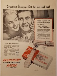 1946 Shick Razor LIFE Single Page Ad Color with Man and Woman   EXL10040