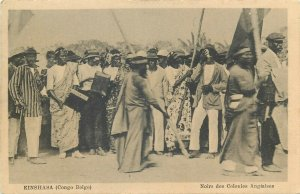 Belgian Congo Kinshasa negroes from British Colonies Sierra Leone procession