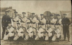 German Navy Sailors Pose Uniforms Guns Cuxhaven Germany Real Photo Postcard