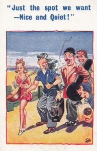 Noisy Pop Beach Band Group Arrive Lute Smoking Guitar Old Comic Humour Postcard