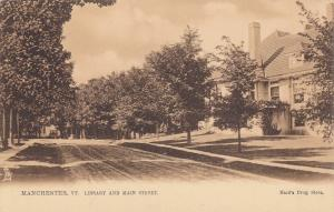 TUCK #2350; MANCHESTER, Vermont, 1900-10s; Library and Main Street