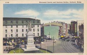 Monument Square And Business Section, Portland, Maine, 1930-1940s
