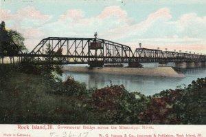 ROCK ISLAND, Illinois, 1900-10s; Government Bridge across Mississippi River