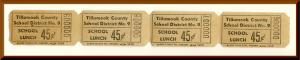 Vintage School Lunch Tickets, Four .45 cent Tickets, Tillamook County, 1950's?