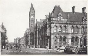 Cyclists on Albert Road Middlesborough Antique Postcard