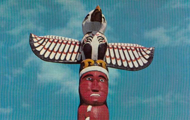 NANAIMO, British Columbia, Canada, 50-60s; Totem pole