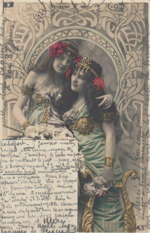 RP: 2 Art Nouveau Girls with harps , 1902