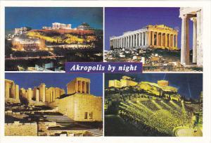 Greece Multi View Akropolis By Night