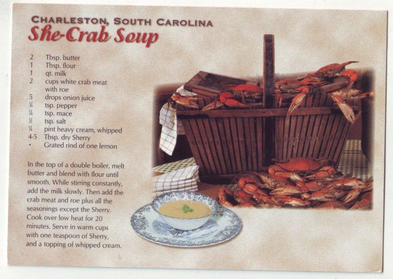 P1207  unused postcard recipe charleston south carolina she crab soup