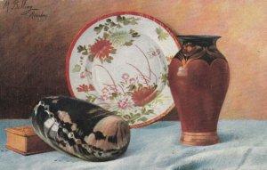 AS; M. BILLING MUNCHEN, 1907; Still Life, Pottery