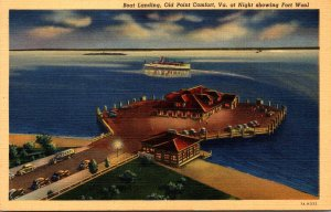 Virginia Old Point Comfort Boat Landing At Night Showing Fort Wool Curteich