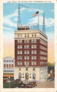 Harrisburg Illinois~First Trust Savings Bank~Young's Dime Store~1930s Postcard
