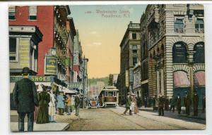 Westminster Street Scene Streetcar Providence Rhode Island 1910c postcard
