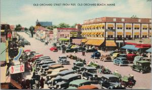 Old Orchard Street from Pier Old Orchard Beach Maine ME Unused Linen Postcard F1