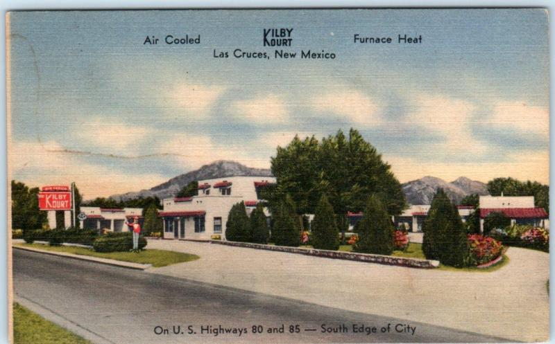 LAS CRUCES, New Mexico NM  Roadside  KILBY KOURT  c1940s Linen  Postcard