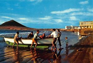 Spain Tenerife El Medano Beach Playa Boat Postcard