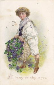 Embossed, Boy, Navy Uniform, Purple Flowers, BIRTHDAY, TUCK #105, 00-10s