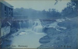 Harmony Mill Dam TE Foss Cyanotype RPPC - MINNESOTA INDIANA or MAINE