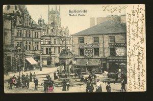 UK Postmarked 1904 Huttersfield Huttersfield Market Place Postcard