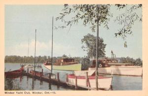 Windsor Ontario Yacht Club Waterfront Antique Postcard K60608
