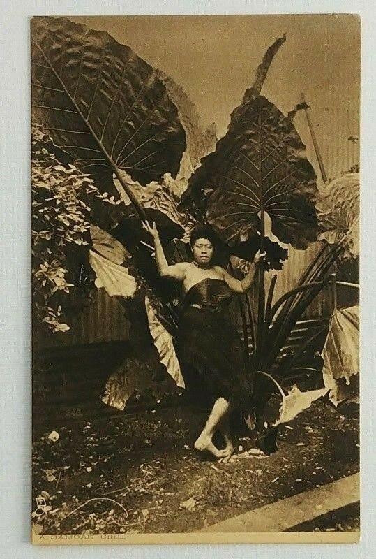 RPPC Samoan Girl Palm Fronds Postcard Tucks England South Sea Islanders