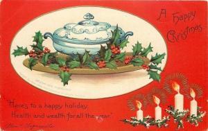 Ellen H Clapsaddle~Blue Delft Gravy Boat~Holly~Lit Candles~Red Back~Emboss~1905
