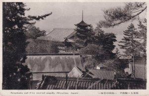 Miyajima Pagoda Old Japanese Postcard